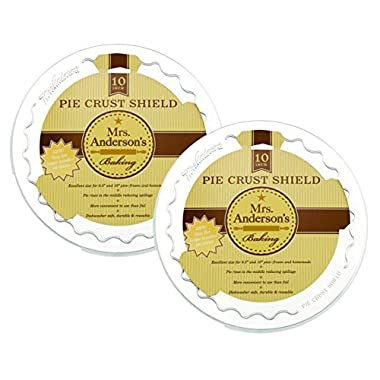 Mrs. Anderson's Baking Pie Crust Protector Shield, Fits 9.5-Inch and 10-Inch Pie Plates, Set of 2