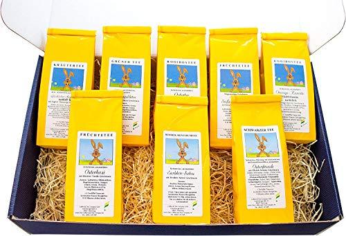 Oster Tee-Box, Ostern Geschenk - tolle Box mit 8 zauberhaften Teesorten á 50g (Blauer Karton)