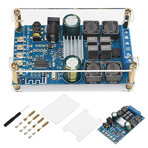 ALAMSCN Bluetooth Amplifier Board TPA3116 50W+50W 2 Channel Wireless Digital Speaker Power Audio Stereo AMP Module DC 4.5-27V 12V 24V with Protective Case Home Sound Theater