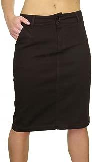 icecoolfashion (2467-1) Stretch Denim Look Below Knee Jeans Skirt Dark Brown