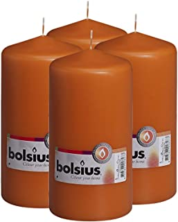BOLSIUS Set of 4 Mango Unscented Dripless Pillar Candles- Clean Burning Smokeless Dinner Candles for Wedding & Home Decor ...