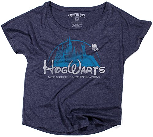 Superluxe Clothing Castle Funny Wizarding World Tri-Blend Cap Sleeve Dolman T-Shirt, Womens Midnight Navy, X-Large