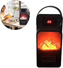900W Mini Calentador de Llama eléctrico de Salida de Pared Calentador de Aire con Control Remoto PTC Calentador de cerámica Estufa Radiador Hogar Ventilador de Pared