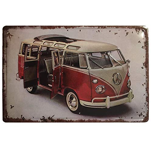 Chapa Decorativa Vintage Volkswagen Bulli. Placa/Cartel de Pared de Metal de Furgoneta Volkswagen Bulli para Garage, Taller, Casa o Bar. Medidas 20x30 cm.