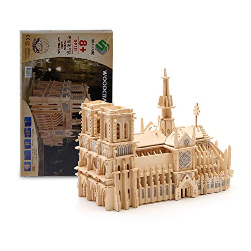 Educational Toy 3D Puzzle for Notre Dame De Paris Most Accurate 3D Wooden Puzzle for Adults Parent-Child Toy