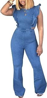 Women's Sexy Off Shoulder Denim Jumpsuits Solid Wide Leg Long Romper Pants with Pockets Plus Size