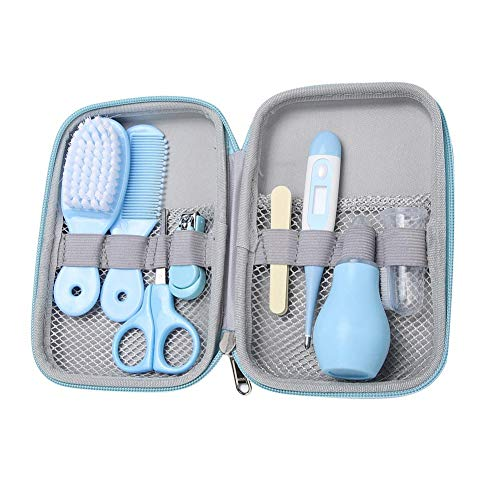 Baby Grooming Kit 8 in 1 Baby Hair Brush/Nail Clipper/Nose Cleaner/Finger Toothbrush/Nail Scissors/Manicure Kit for Baby Care Keep Healthy and Clean