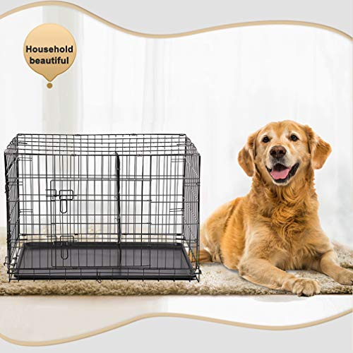 """BestPet New Cat Dog cage Pet Kennel Folding Crate Wire Metal Cage W/Divider (42"""") Dog Kennels Supplies Top"""