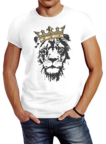 Neverless Herren T-Shirt König der Tiere Löwen-Kopf mit Krone Slim Fit weiß M