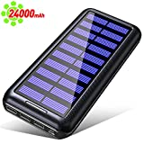 Gnceei Solar Power Bank, 24000 mAh, caricabatterie portatile ad alta capacità 2,4 A, 3 uscite USB, batteria esterna compatibile con iPhone, Samsung, Huawei, iPad e altri