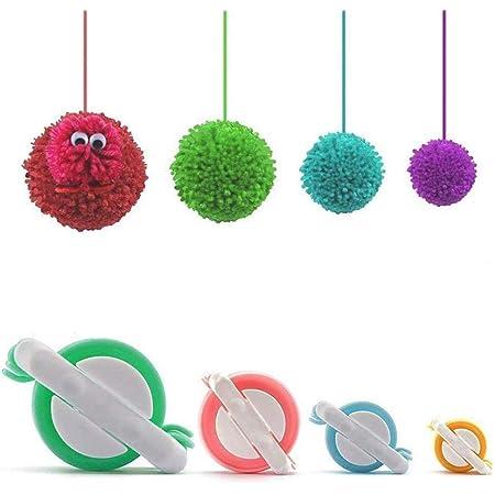 Pom Pom Maker,4 Tailles Fluff Ball Weaver Needle PomPom Maker Set-DIY Pompoms Kits de fabrication de poche artisanale-Jeu de tricoterie Ensemble d'outils artisanaux Pom-pom Maker