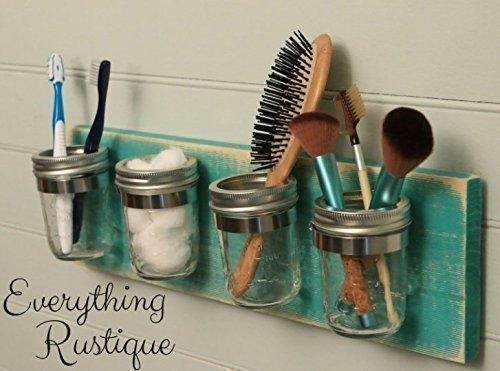 Mason Jar Organizer, Bathroom Storage, Mason Jar Decor, Mason Jar Bathroom Set, Bathroom Organizer, Shabby Chic