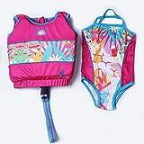 Product Image of the Megartico Girls Swim Vest Float Jacket with Swimwear Travel Holiday (Pink Daisy,...