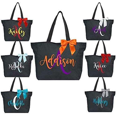 Custom Two Color Monogrammed Tote Bag