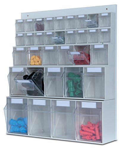 hünersdorff MultiStore Wand-Set: Regalsystem aus Rückwand & 33 Klarsichtbehälter mit Kippschublade (MultiStore Riegel Nr. 4, 5, 6 und 9) aus Polystyrol