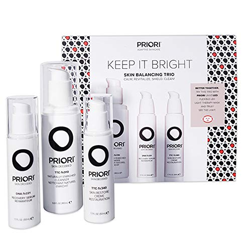 Priori Skincare Keep it Bright Trio, Professional Skin Balancing Set, Natural Face Cleanser, DNA Recovery Serum, Skin Restore Cream, Beauty Gifts, LED Therapy Product kit for Optimum Results