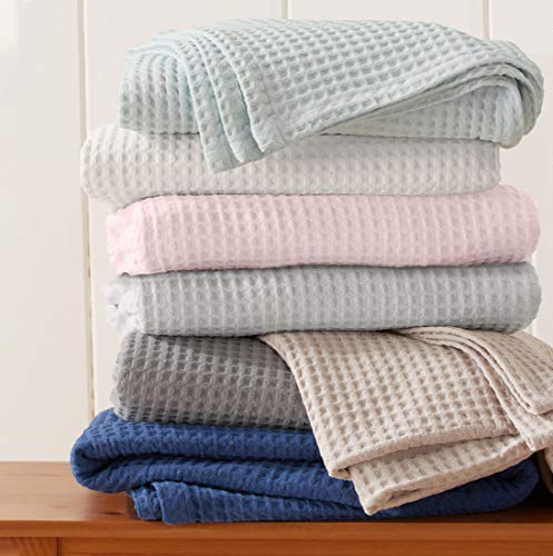 Great Bay Home 100% Cotton Waffle Weave Thermal Blanket. Super Soft Season Layering. Mikala Collection (Full/Queen, White)