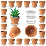 35 Pack Mini Terracotta Pots - 2 inch Small Terra Cotta Plant Pot with Saucer - Tiny Clay Planter in Bulk - Drainage Hole for Cute Succulent Plants - DIY Craft - Wedding Gift and Party Favors