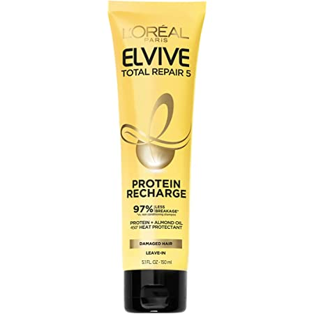 L'Oreal Paris Elvive Total Repair 5 Protein Recharge Leave-In Conditioner Treatment and Heat Protectant, 5.1 Ounce