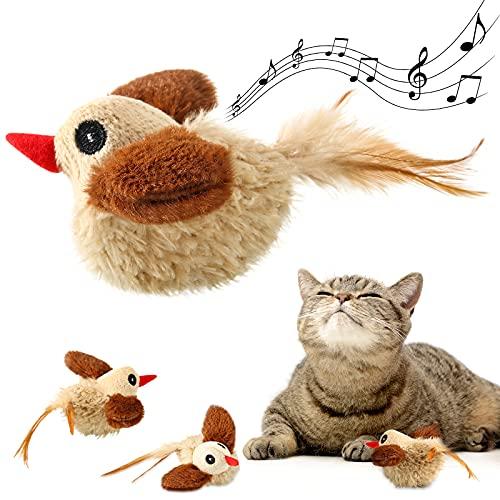 Sumind Giocattoli Erba Gatta Uccelli Giocattolo Interattivo Uccelli per Gatti in Peluche per Interno, Giocattolo Uccelli Squittisce, Giocattolo per Gatti in Peluche, Giocattoli Animali