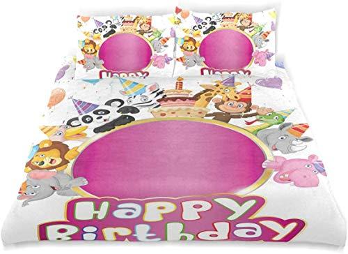 Juego de Funda nórdica Cumpleaños Safari Animales Fiesta Estampado Decorativo Juego de Cama de 3 Piezas con 2 Fundas de Almohada Fácil Cuidado Antialérgico Suave Suave