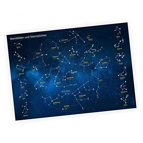Kinder Lernposter Sternbilder und Sternzeichen - Wanddeko Kinderzimmer Sternenhimmel Deutsch und Latein - Größe DIN A1-841 x 594 mm