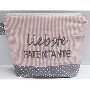 bestickte KOSMETIKTASCHE LIEBSTE PATENTANTE /41/ – Kulturtasche – Tasche – Schminktasche – Makeupbag – bag express…