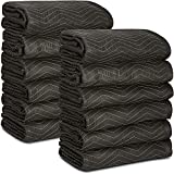 12 Moving & Packing Blankets 80' x 72' (55 lb/dz Weight) - Quilted Shipping Furniture Pads (Black)
