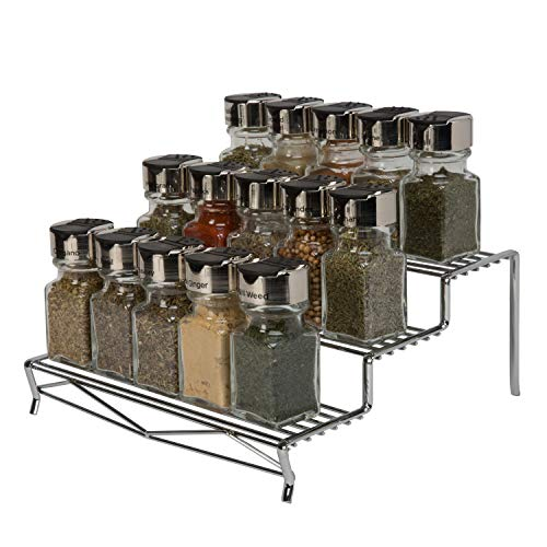 Kitchen Details Geode 3 Tier Spice Rack Organizer, Free Standing, Counter Top or Cabinet, Rust Resistant, Chrome