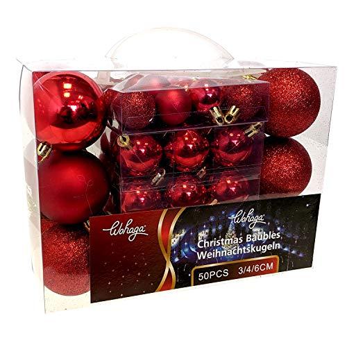 Wohaga® 1Set di 50 Palle di Natale Ø3/4/6cm plastica Rosso - Ornamento per L'Albero di Natale Decorazione di Natale Decorazione per l'abete