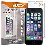 REY 3X Protector de Pantalla para iPhone 6 Plus / 6S Plus, Cristal Vidrio Templado Premium