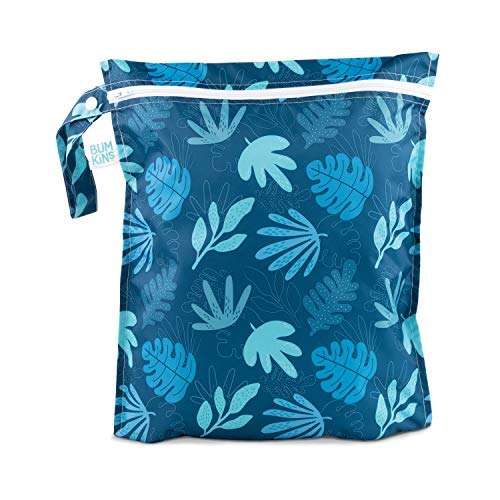 Bumkins Waterproof Wet Bag, Washable, Reusable for Travel, Beach, Pool, Stroller, Diapers, Dirty Gym Clothes, Wet Swimsuits, Toiletries, 12x14 – Blue Tropic