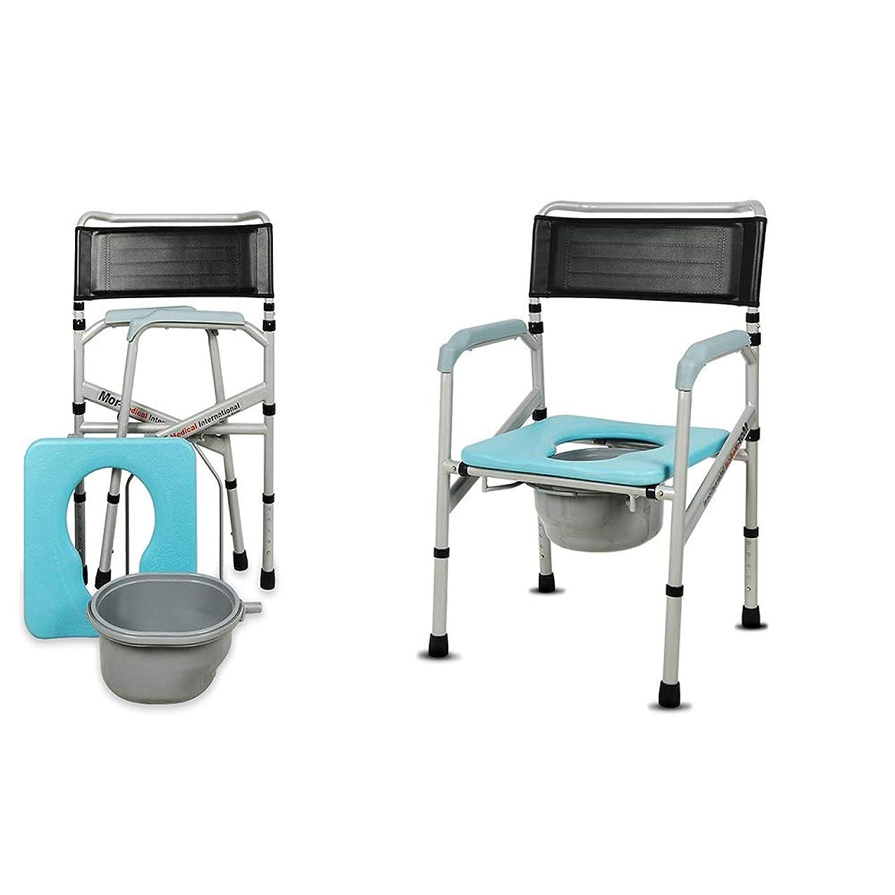 僕の専制スチュワーデスHXLQ トイレチェア 高さ調節可能なトイレチェア 老人座っている椅子 折りたたみ式便器椅子、浴室シャワーチェア 肥厚鋼管、ベアリング重量250kg