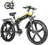 Bicicleta electrica Bicicletas, 1000W Fallo eléctrico Bici 48V Batería de litio Hombres Mountain E Bicicleta 21 Velocidades 26 pulgadas Fallo Tire Road Bicycle Bike Bike Pedales con Playa Cruiser Homb