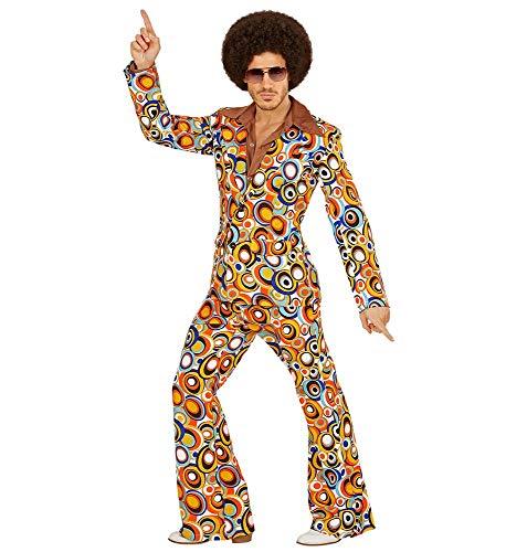 shoperama 70er Jahre Retro Herren Anzug Bubbles Disco Herren-Kostüm Jackett Hose Siebziger Schlager Festival, Größe:M