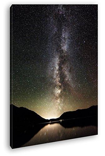 Brillantes Estrellas de la Vía Láctea como Lienzo, diseño Enmarcado en Marco de Madera, impresión Digital Marco, no es un póster o Cartel, 80x60