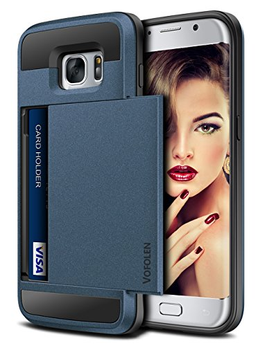 Vofolen Upgraded Case for Galaxy S7 Case Wallet Card Holder Slot Pocket Sliding Cover Dual Layer Hybrid Shield Shockproof Anti-scratch Protective Hard Shell Tough Bumper Armor for Galaxy S7 Matte Navy