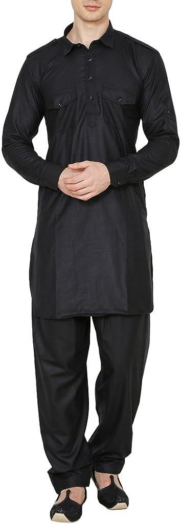 ROYAL Pathani Suit for Men Ocassional Linen Look- Black