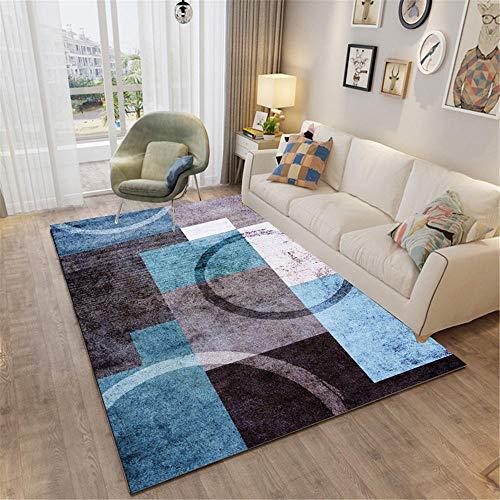 Kunsen Centro de Mesa Decorativo Comedor Alfombra Carretera Alfombra de Estar Alfombra Azul marrón Rectangular diseño sin Pelo fácil de Manejar moqueta 120X160CM 3ft 11.2' X5ft 3'