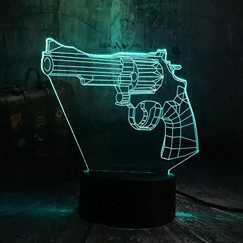 Lámpara de luz nocturna 3D Cool Battle Game Revolver Magnum LED Lámpara de mesa de escritorio con luz nocturna 7 colores de sala de juguetes para niños