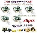 TECNOIOT 5pcs Reprap Stepper Driver A4988 Stepper Motor Driver Module with Heatsink