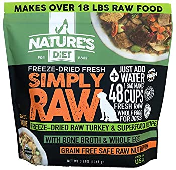 Nature s Diet Simply Raw Freeze-Dried Raw Whole Food Meal - Makes 18 Lbs Fresh Raw Food with Muscle Organ Bone Broth Whole Egg Superfoods Fish Oil Omega 3 6 9 Probiotics & Prebiotics  Turkey