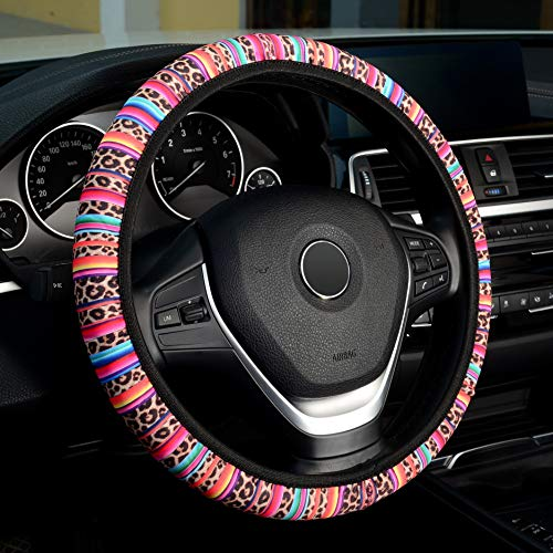 LABBYWAY Universal Steering Wheel Covers, with Cute Leopard Pattern Design,Universal Fit 15 Inch Stretchy Wheel Protector for Women Girls