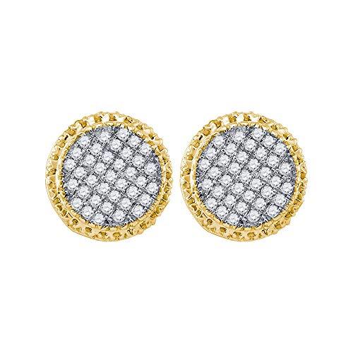Diamond2Deal - Orecchini a cerchio da uomo in oro giallo 10 ct, con diamanti rotondi da 1/3 Cttw