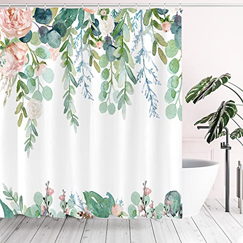 Tititex Aesthetic Blooming Floral Shower Curtain Sets, Watercolor Pink Flowers Green Leaves Tropical Bathroom Decorative 70 X 70 Inch Polyester Waterproof Fabric Bath Curtain with Hooks