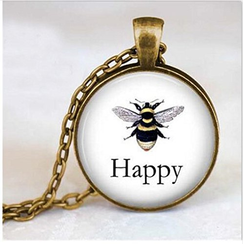 Bee Happy Anhänger, Halskette, Vintage Bee Druckvorlage von Halskette, Anhänger Honeybee Jewelry