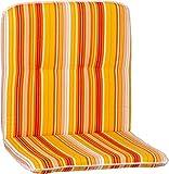 Beo Niedriglehner Auflagen Waschbar Bali | Made in EU nach Öko-Tex Standard | Atmungsaktive Stuhlauflage Niedriglehner mit Halteband | UV-beständige Auflagen Niedriglehner mit Streifen in Gelb-Orange