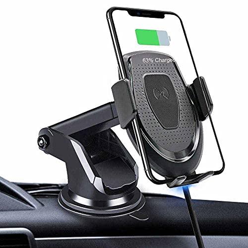 MRTYU-UY Cargador de coche inalámbrico con sujeción automática, 10 W 7.5 W carga rápida del coche, soporte del teléfono de la ventilación del salpicadero, para Samsung S10 S9 iPhone 8 Max X 11 Pro