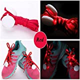 JERN Cool Fashion Light up LED Shoelaces Flash Party Skating Glowing Shoe Laces for Boys Girls Fashion Self Luminous Shoe Strings (Red)