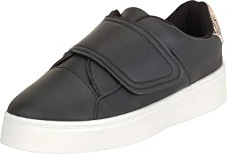 Cambridge Select Women's Low Top Hook and Loop Strap Chunky Platform Fashion Sneaker